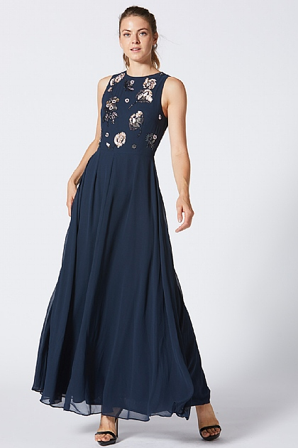 Navy Floral Embellished Baby Doll Maxi Dress