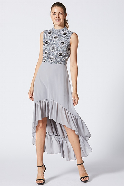 Grey Embellished High Front Midi Dress