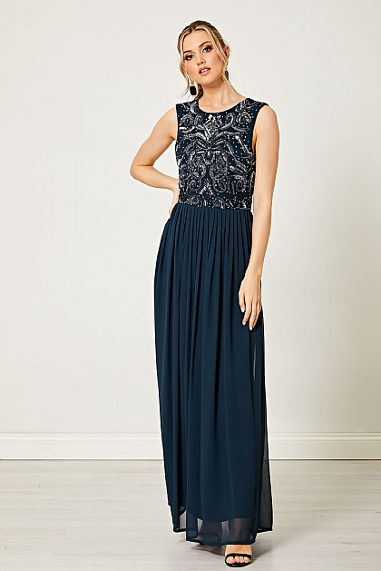 Navy Sleeveless Silver Embellished Maxi Dress
