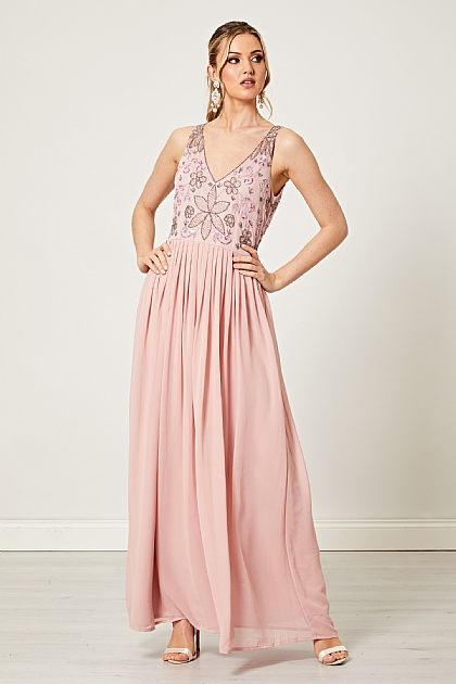 Dusty Pink Embellished Sequin V Neck Maxi Dress