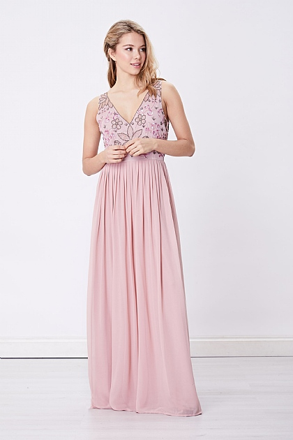 Pink V-Neck Embellished Maxi Dress