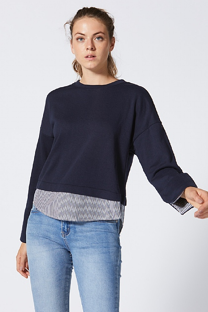 Amour Navy Layered Sweatshirt
