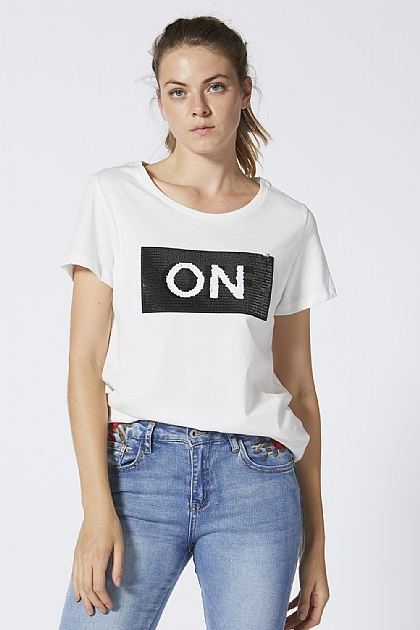 On and Off White Sequin T-Shirt
