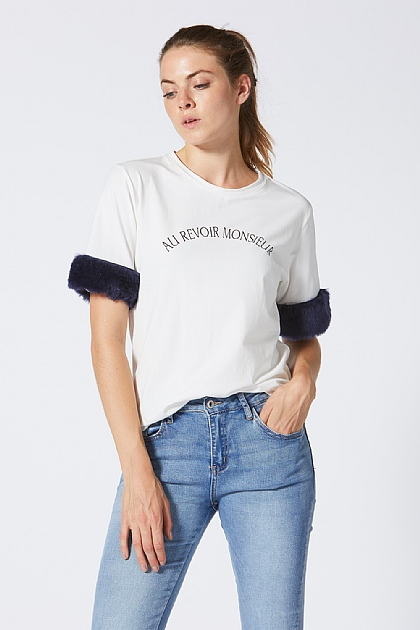 Au Revoir Fur Trim T Shirt