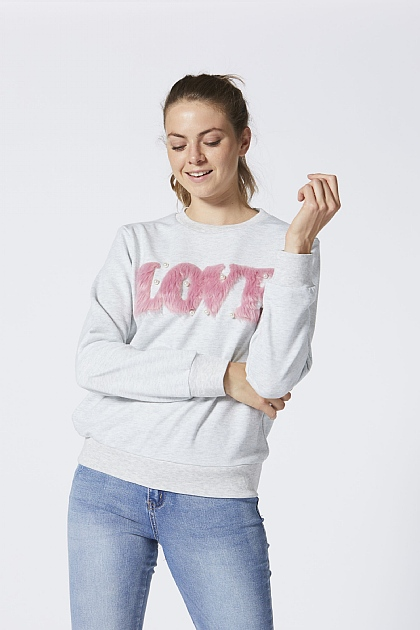 Pink Faux Fur Love Grey Jumper