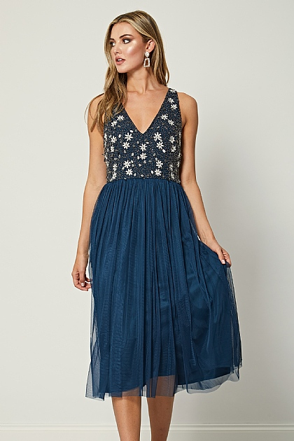 Navy Embellished Sequin V Neck Midi Dress
