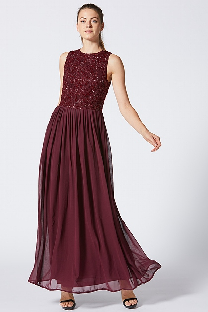 Burgundy Embellished Dress with Chiffon Skirt
