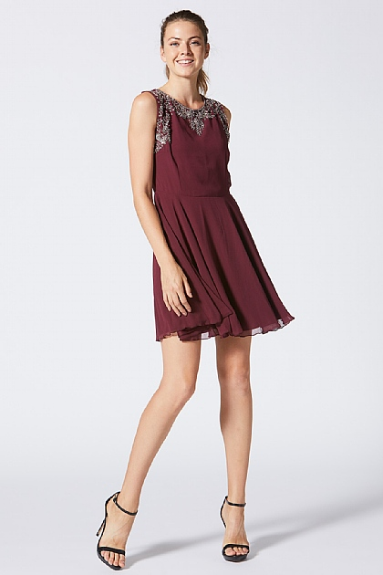 Burgundy Skater Dress With Neckline Detailing