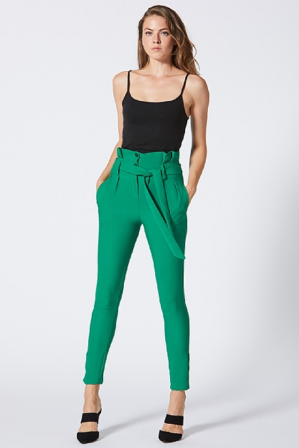 Green Tie Waist Paper Bag Trousers