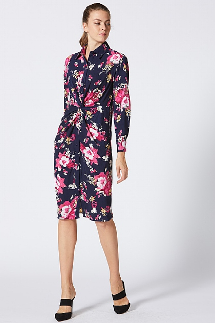 Floral Pink and Navy Midi Shirt Dress