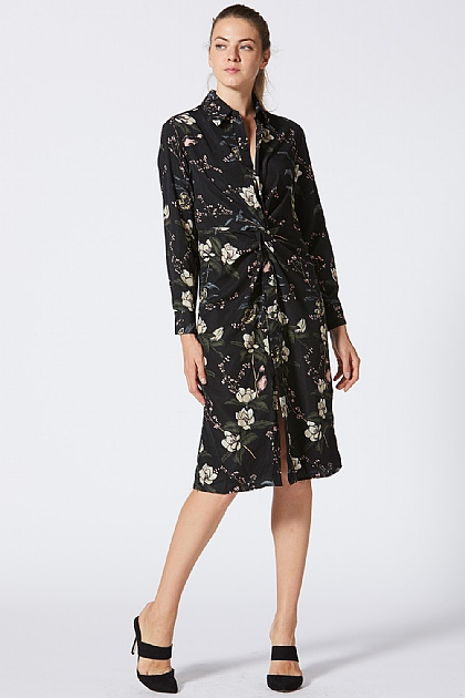 Floral Black Shirt Midi Dress