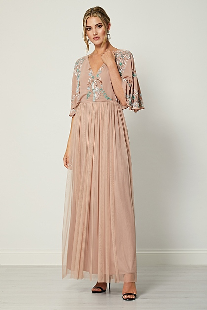 Beige Pink Embellished Boho Maxi Dress