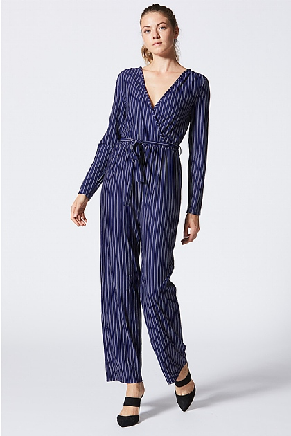 98a7fcace98 ... Navy Striped Wrap Front Long Sleeved Jumpsuit