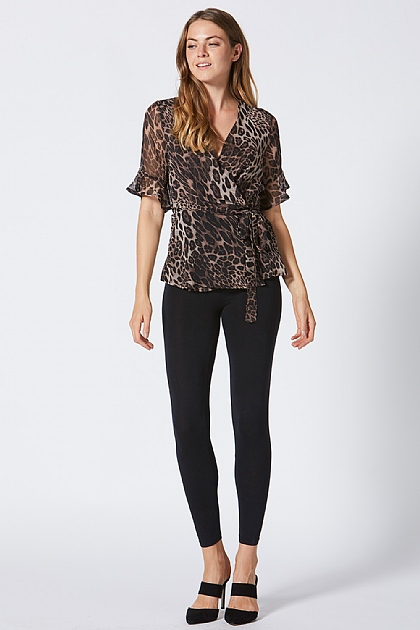 Leopard Print Ruffle Sleeve Wrap Top Brown