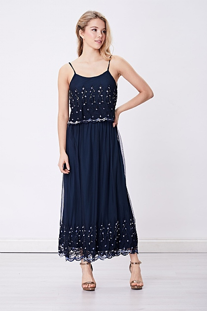 Navy Blue Embellished Hem Cami Dress