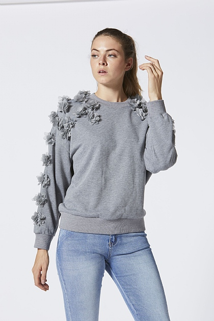 Grey Sweatshirt with Pom Sleeve Detailing
