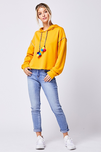 Mustard Yellow Hooded Sweatshirt Multi Pom Cord