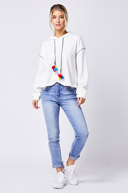 White Hooded Sweatshirt Multi Pom Cord