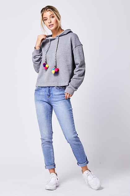Grey Hooded Sweatshirt Multi Pom Cord