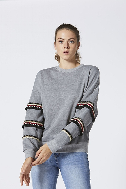 Grey Beaded Arm Detail Jumper