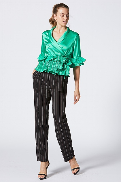 Rich Green Silky Ruffled Wrap Top