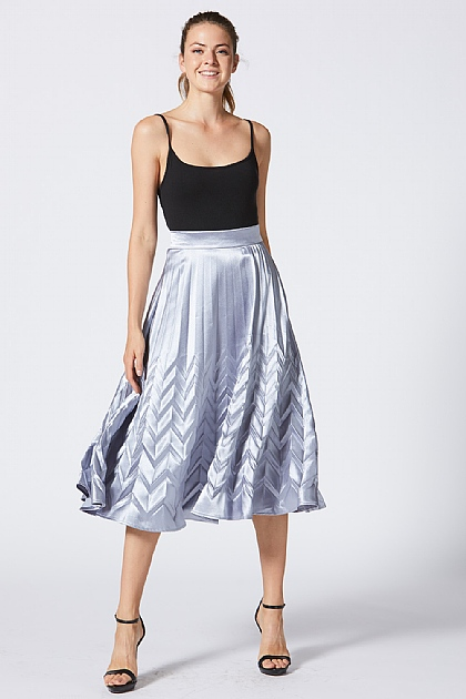 Grey Metallic Silk Look Midi Skirt