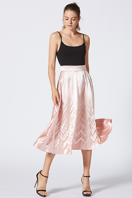 Pink Metallic Silk Look Midi Skirt