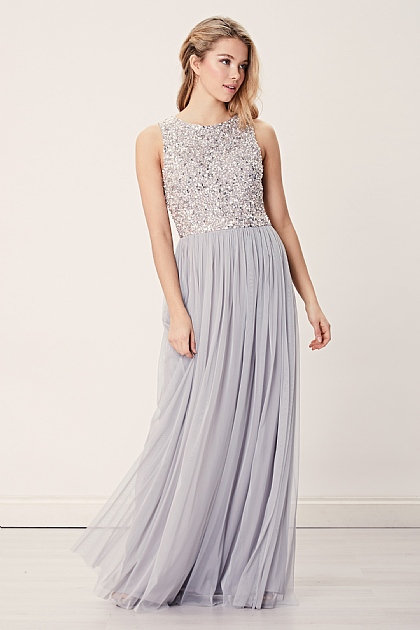 Light Grey Embellished Sequin Maxi Dress