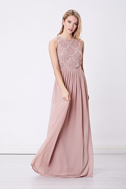 Pink Sleeveless Embellished Beaded Maxi Dress