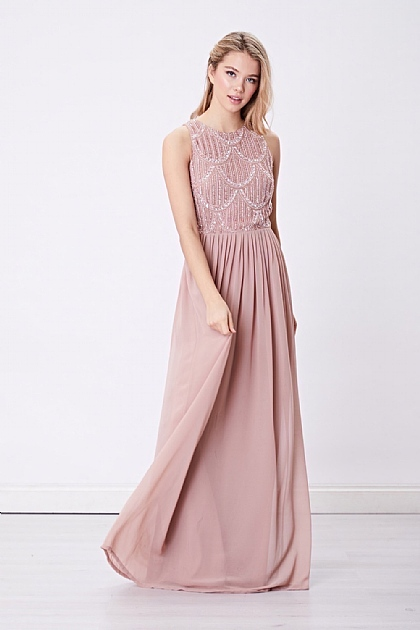 Pink Sleeveless Embellished Maxi Dress
