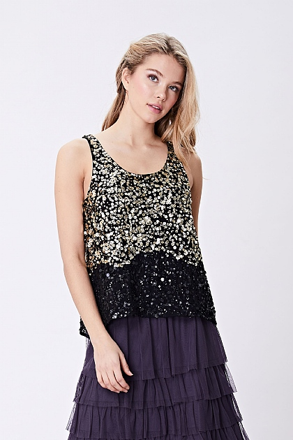 Gold Black Sequin Cami Embellished Top