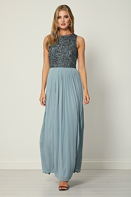 Grey Sleeveless Embellished Beaded Maxi Dress