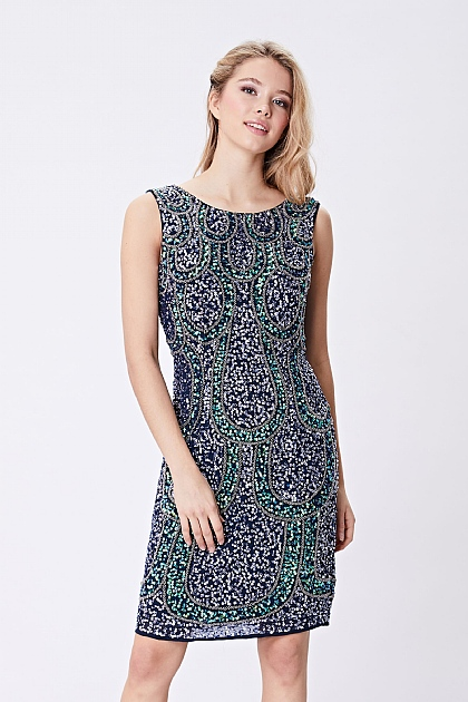 Navy Mermaid All Over Sequin Midi Dress