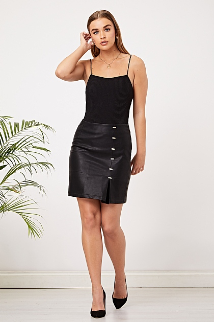 Black Faux Leather Skirt with Detailing