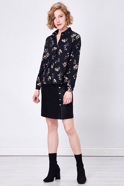Black Long Sleeved Floral Shirt