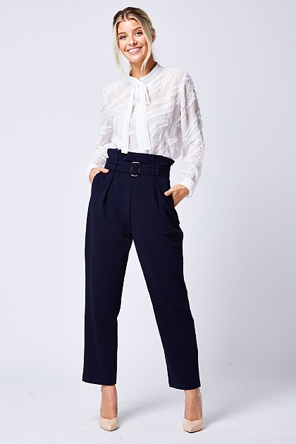 Navy Blue Belted High Waisted Trousers