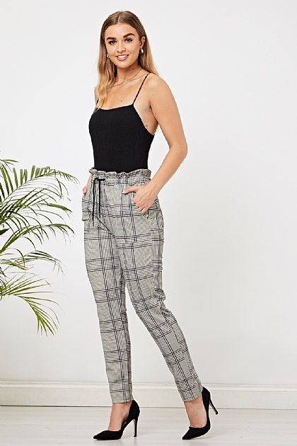 Grey Elasticated Checked Trousers