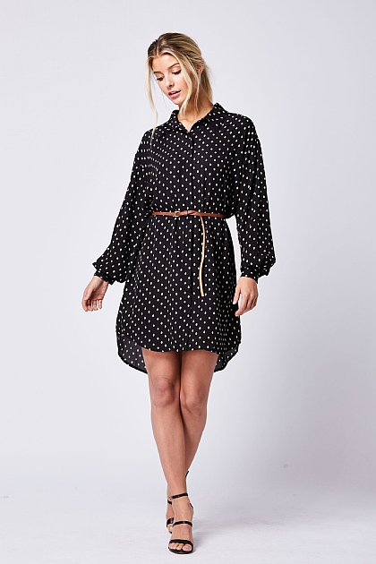 Black Polka Dot Belted Shirt Dress