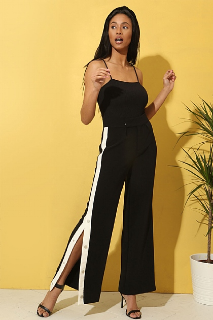 Wide Leg Trouser White Racing Stripe in Black
