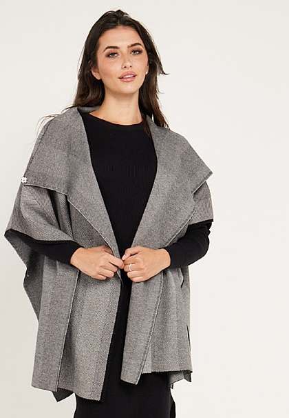 Grey Waterfall Short Sleeved Coat