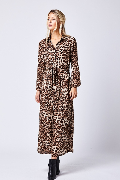 Leopard Print Maxi Dress Coffee