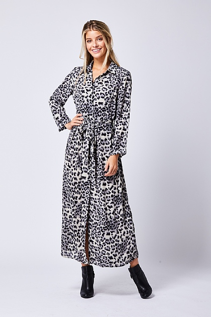 62474bdea1 ... Grey Leopard Print Shirt Maxi Dress