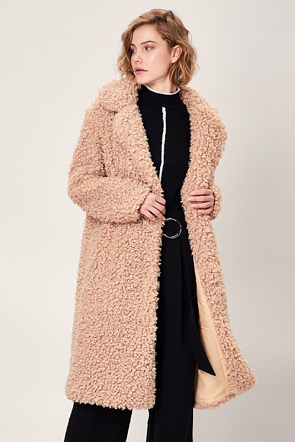 Brown Beige Soft Teddy Faux Fur Oversized Coat