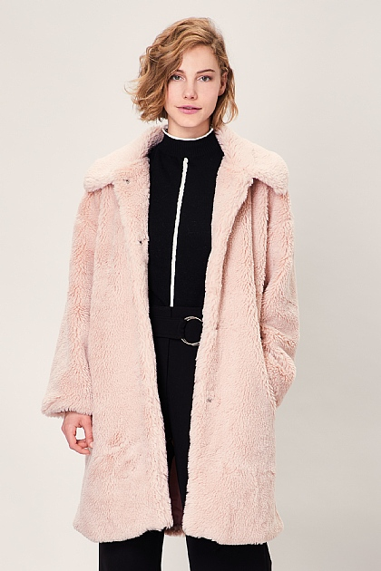 Light Pink Soft Teddy Faux Fur Oversized Coat