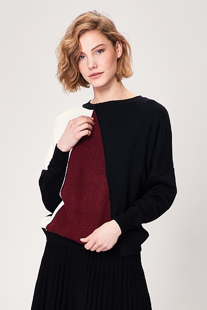Black Burgundy Block Long Sleeve Jumper