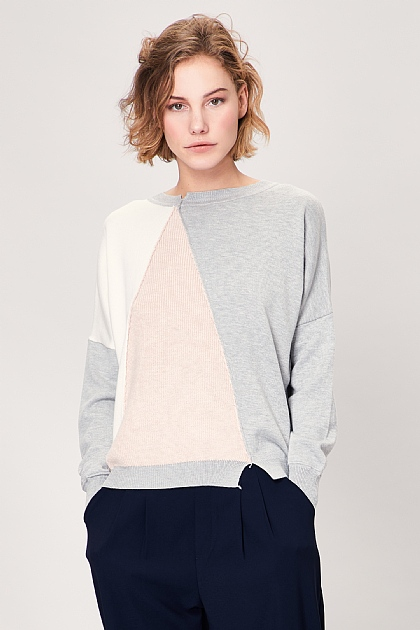 Pink Grey Block Long Sleeve Jumper