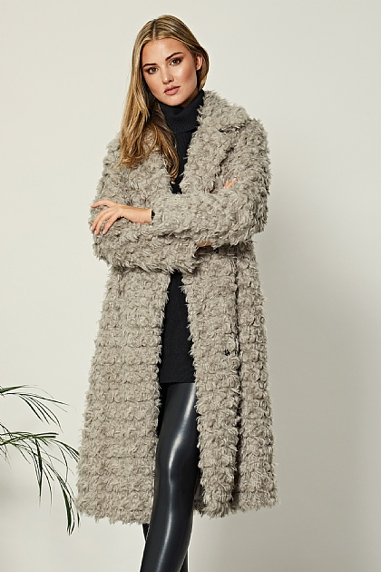 Grey Long Teddy Faux Fur Coat