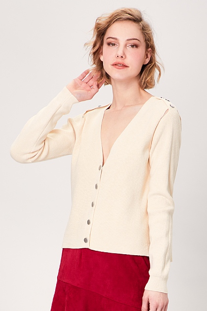 Cream Button Long Sleeved Cardigan