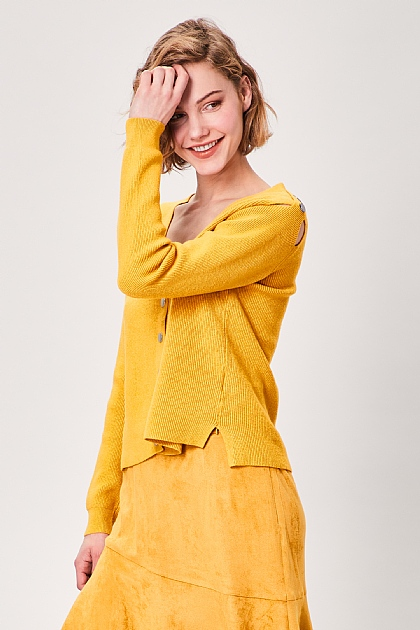 Yellow Button Long Sleeved Cardigan