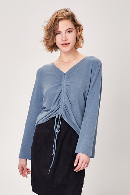 Blue Ruched Front Long Sleeve Knit Top